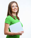 Young smiling woman show blank card Stock Image