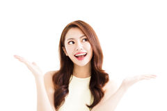 Young smiling  woman with showing gesture Royalty Free Stock Photos