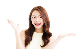 Young smiling  woman with showing gesture Royalty Free Stock Images