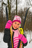 Young smiling woman with ski stock photo