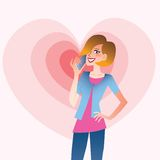 Young smiling woman talking on the phone heart. Young smiling woman talking on the phone that emits waves in the shape of a heart. Valentines day royalty free illustration