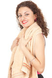 Young smiling woman with towel Royalty Free Stock Image