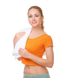 Young smiling woman with towel Stock Image