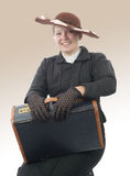 Young smiling woman in vintage costume 1900s Royalty Free Stock Images