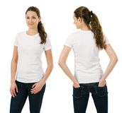 Young smiling woman wearing blank white shirt Royalty Free Stock Photo