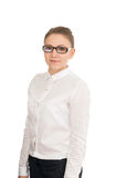 Young smiling woman in a white shirt and glasses Royalty Free Stock Photography