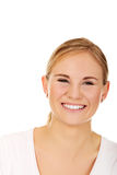 Young smiling woman in white t-shirt.  Stock Photography