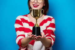 Young Smiling Woman With Cup Trophy Stock Images