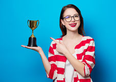 Young Smiling Woman With Cup Trophy Stock Image