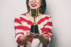 Young Smiling Woman With Cup Trophy Stock Photos