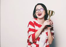 Young Smiling Woman With Cup Trophy Stock Photography