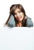 Young smiling woman witn blank board Royalty Free Stock Photos