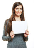 Young smiling woman witn blank board Royalty Free Stock Photography