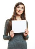 Young smiling woman witn blank board Stock Images