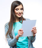 Young smiling woman yellow dressed show blank card Royalty Free Stock Photo