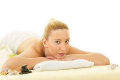 Young smiling women at spa salon relaxing Stock Image