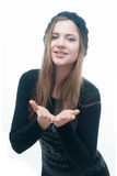 Young smilling girl in black dress and beret Royalty Free Stock Photography