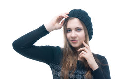 Young smilling girl in black dress and beret Stock Images