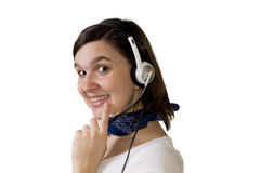 Young smilling phone operator Royalty Free Stock Image