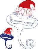 Young snake in Santa hat. Date 2013 Royalty Free Stock Photos