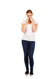 Young sneezing woman with sinus pain Royalty Free Stock Photos