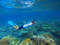 Young snorkel swims underwater. Male snorkel in tropical lagoon undersea photo. Freediving in coral reef. Active summer holiday. Water sport in open sea Stock Photo