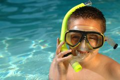 Young snorkeler. Boy with snorkeling equipment on a hot summer day Stock Photos