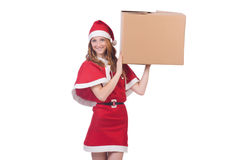Young snow girl with box Stock Photos