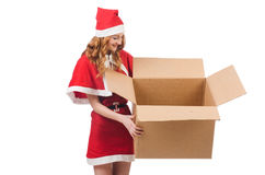 Young snow girl with box Stock Photo