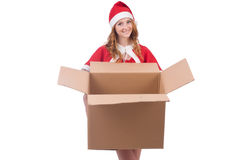 Young snow girl with box Stock Image