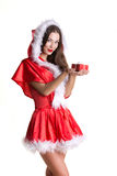 Young snow maiden with present Royalty Free Stock Photography