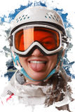 A young snowboard girl wearing a helmet and glasses put out her tongue Royalty Free Stock Image