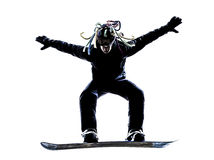 Young snowboarder man silhouette Royalty Free Stock Images