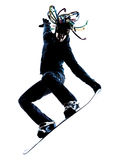 Young snowboarder man silhouette Stock Photo