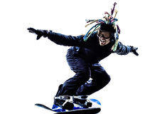 Young snowboarder man silhouette Stock Image