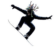 Young snowboarder man silhouette Stock Photos