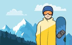 A snowboarder stands on a background of a mountain landscape. Vector Illustration. Royalty Free Stock Photography
