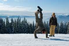 Young snowboarders having fun stock photography