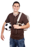 Young with soccer ball and backpack Stock Photography
