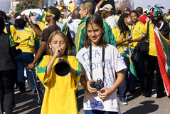 Young Soccer Fans Celebrate in the Street Royalty Free Stock Photo