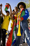 Young Soccer Fans Dancing in the Street. Football frenzy at Bafana celebration Stock Photos