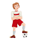 Young soccer player. Cartoon character vector illustration Stock Photo