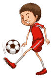 A young soccer player. Illustration of a young soccer player on a white background Stock Photo