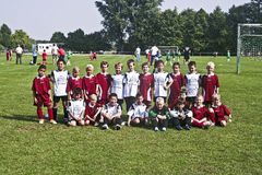 Young soccer player pose proudly for Team Photo Royalty Free Stock Photography