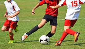 Young soccer players  in action Stock Photography