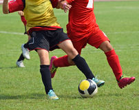 Young soccer players in action Royalty Free Stock Image