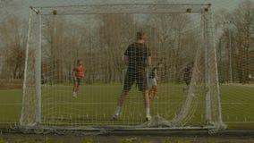 Footballer dribbling, creating opportunity to score stock video