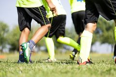 Young soccer players royalty free stock photo