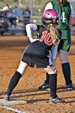 Young Softball Player on Base stock photo