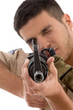 Young soldier aiming Stock Photo